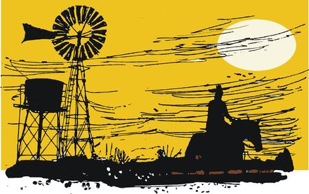 windmolens: Australische outback rider illustratie Stock Illustratie