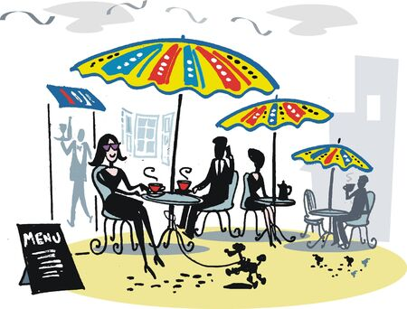 Cafe with sun umbrellas illustration
