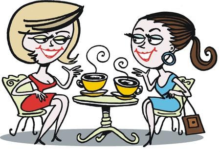 drinking coffee: Mujeres disfrutar de Copa de dibujos animados de caf�