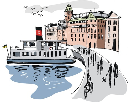 informal: Illustration of Stockholm harbor, Sweden Illustration