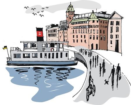 ferry boat: Illustration of Stockholm harbor, Sweden Illustration