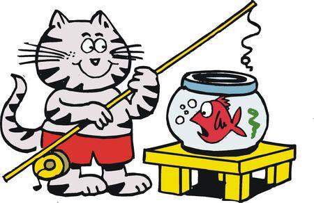 Cartoon cat fishing in goldfish bowl Vector