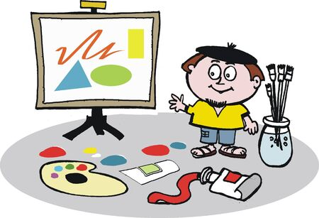 Artist with easel vector cartoon Vector
