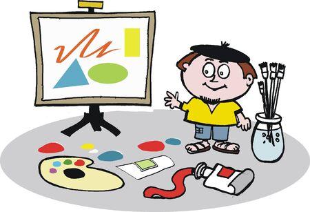 artist's canvas: Artist with easel vector cartoon