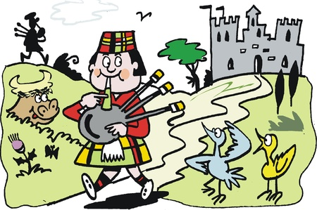gaita: Vector de cartoon de scotsman tocando gaita