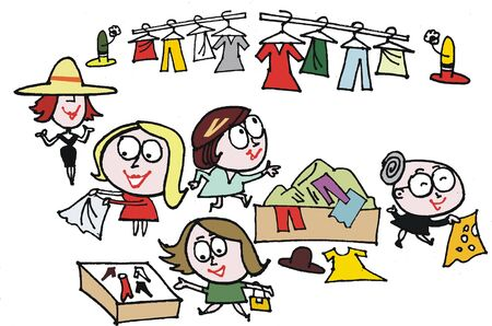 Vector cartoon of women at clothing sale Stock Vector - 9929891