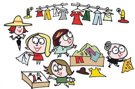 Vector cartoon of women at clothing sale Stock Vector - 9929891