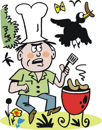 Vector cartoon of man cooking on barbecue Vector