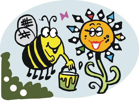 collecting: Vector cartoon of bee collecting pollen from flower