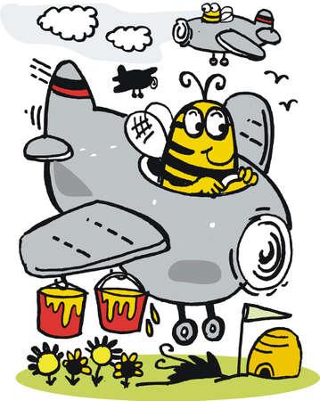 avion caricatura: Vector de cartoon de abeja en avi�n con bote de miel