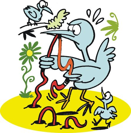 struggling: cartoon of bird struggling with worm Illustration