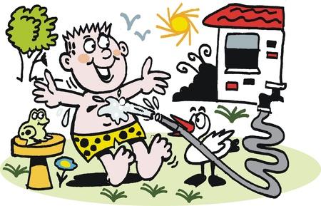 cartoon of man in heatwave with hose Vector