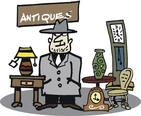 untrustworthy:  cartoon of second-hand dealer