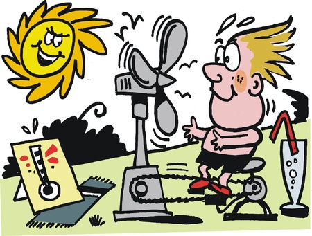 cartoon of boy on hot summer day Stock Vector - 10045541