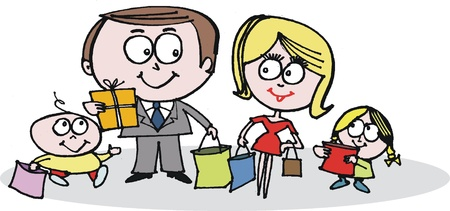 family shopping: Happy family shopping cartoon Illustration