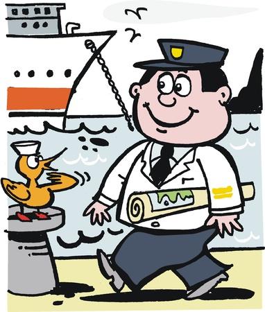 Happy captain with chart cartoon Stock Vector - 10045542