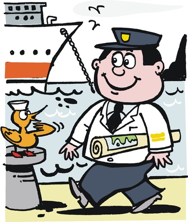 Happy captain with chart cartoon Stock Vector - 10045542