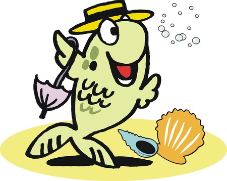 Funny dancing fish cartoon Vector