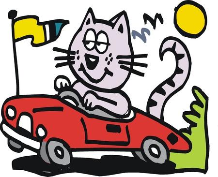 car flag: cartoon of smiling cat driving car