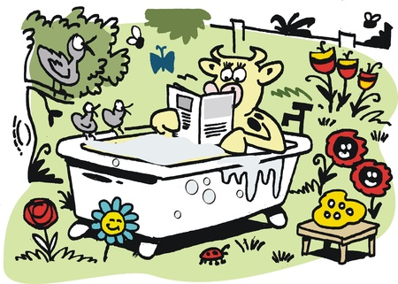 contented: cartoon of contented cow in bath