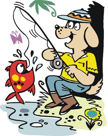 rods:  cartoon of happy dog with fishing rod