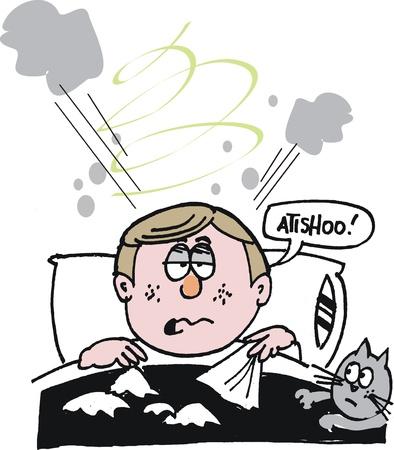 sneezing: cartone animato di uomo a letto con il freddo Vettoriali