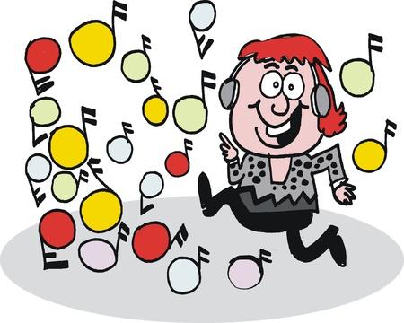 ecoute active: caricature de l'homme �coutant de la musique