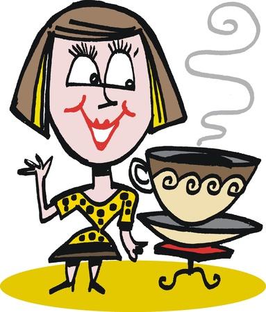 woman drinking coffee: cartoon of woman drinking coffee Illustration