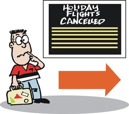 flight board: frustrated traveler at airport cartoon
