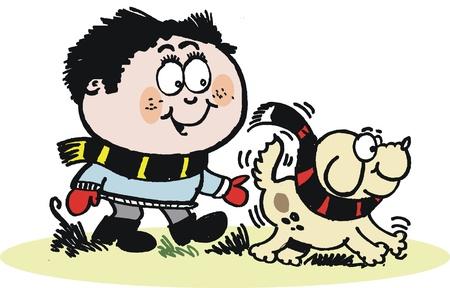 dog walking: Boy walking dog cartoon