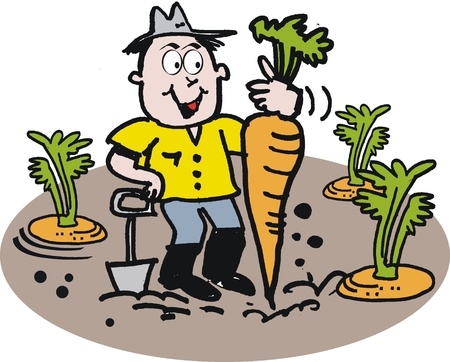 zanahoria caricatura: Jardinero feliz con dibujos animados de zanahoria