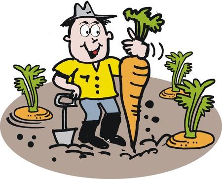 jardinero: Jardinero feliz con dibujos animados de zanahoria