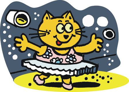 Dancing cat cartoon Vector