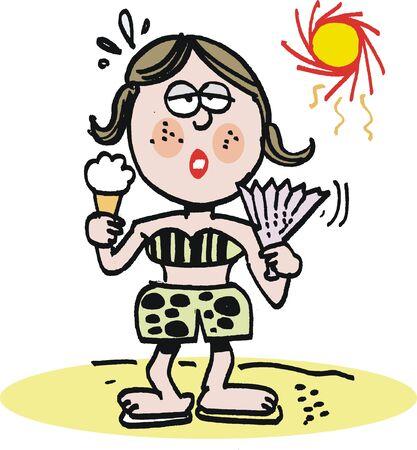 perspiring: Girl with icecream in hot sun cartoon