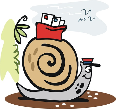 Snail carrying mail cartoon