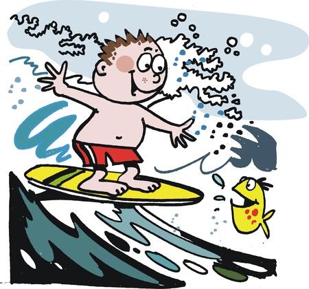 Boy on surfboard cartoon Stock Vector - 10045565