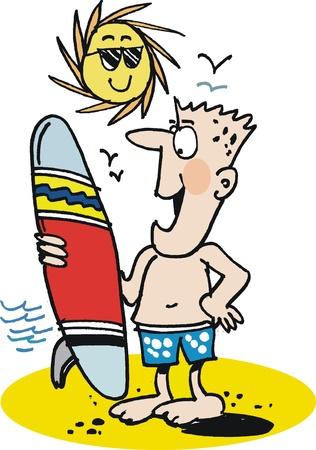 Man with surfboard on beach cartoon Vector