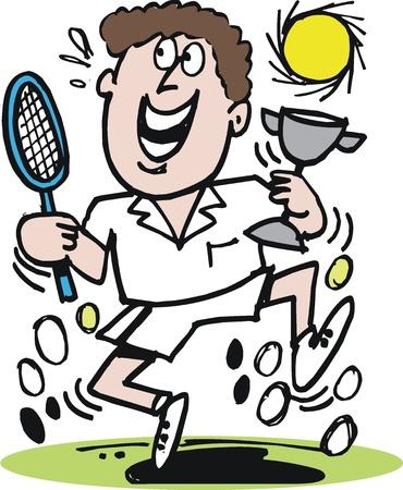 victorious: Happy tennis player cartoon Illustration