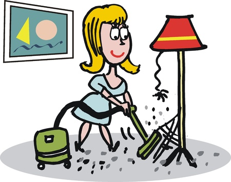 Housewife with vacuum cartoon
