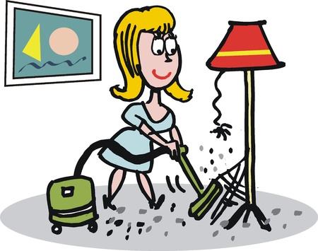 vacuuming: Housewife with vacuum cartoon