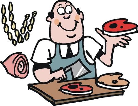 Smiling butcher  Illustration
