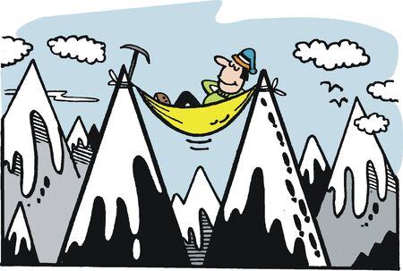 bergsteiger: Bergsteiger am Gipfel Illustration