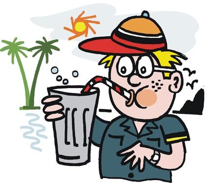 cartoon van de jongen het drinken van milkshake