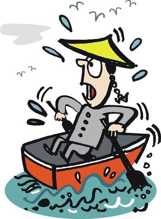 rowing: Cartoon of Asian man rowing boat