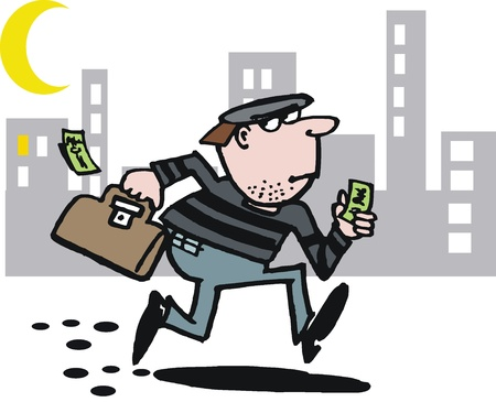 robbery: cartoon of running burglar Illustration