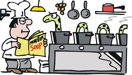 soup pot: cartoon of chef preparing meal