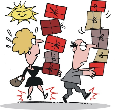 shoppen: Mann und Frau beim Einkaufen Illustration