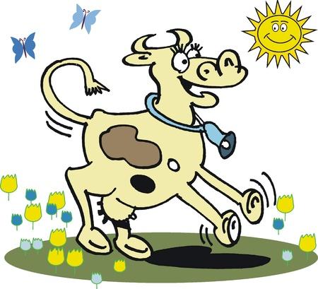 cartoon of happy cow Vector