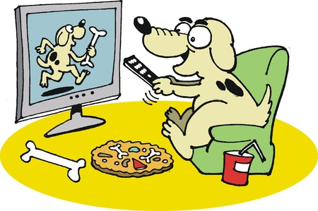 tv remote:  dog watching television Illustration