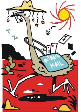 australian outback: Australian outback emu Illustration